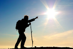 Traveler and big sun. Tired traveler direct on big sun. Conceptual design Stock Image