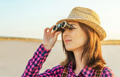 Traveler with binoculars Stock Photography