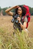 Traveler with binoculars Stock Photos