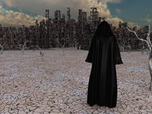 Traveler before the destroyed city stock illustration