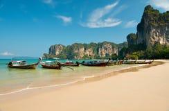 Traveler Boat at Ao Phra-nang bay Royalty Free Stock Image
