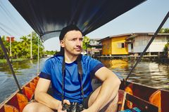 Traveler on the boat Stock Photography