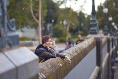 Traveler on bridge Royalty Free Stock Image