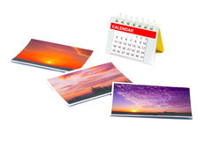Traveler Calendar with a collage of Instant photo, Polaroid phot. O frame isolated on white background Royalty Free Stock Images