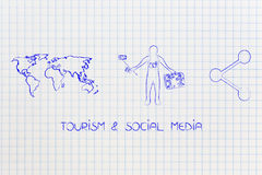 Traveler with camera and selfie stick next to world map and sharing icon. Tourism & social media concept: traveler with camera and selfie stick next to world map stock illustration