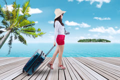 Traveler carrying suitcase at pier Royalty Free Stock Photo