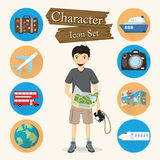 Traveler character Icon set vector Royalty Free Stock Photo