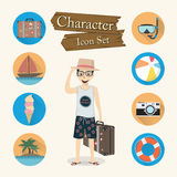 Traveler character Icon set vector Stock Photos