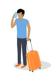 Traveler Character Isometric Vector Icon. Traveler character icon. Man in casual clothes with trolley suitcase talking on phone template vector illustration Stock Image