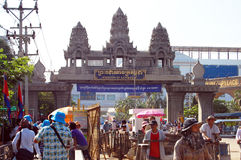 Traveler and Combodian people walking through the border to Cambodia Stock Photos