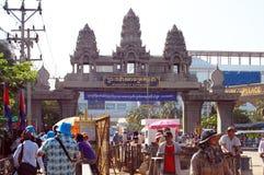 Traveler and Combodian people walking through the border to Cambodia Stock Photos