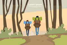 Traveler Couple Hikers With Rucksack Rear View Nature Background. Vector Illustration Royalty Free Stock Image