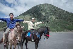 Traveler couple ride a horse at Mt. Bromo, east Java, Indonesia. Holding hand with fume of volcano background at Mt.Bromo Gunung Bromo Kingkong hill East Java stock photo