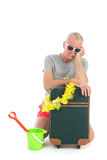 Traveler with delay. Traveler with suitcase having delay isolated over white background Stock Images