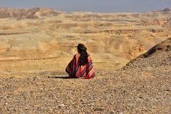 Traveler on desert Royalty Free Stock Photography