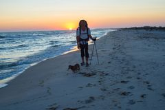 Traveler with a dog walks along the surf line Stock Photo