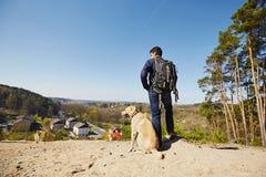 Traveler with dog Stock Photos