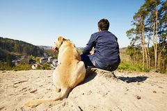 Traveler with dog Stock Photography