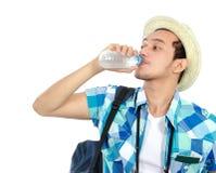Traveler drinking water Royalty Free Stock Photo