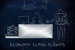 Traveler at economy class desk at the airport Royalty Free Stock Image