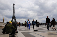 Traveler in eiffel tower in paris city Stock Photo