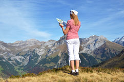 Traveler enjoying Alpine panorama Royalty Free Stock Photography