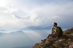 Traveler enjoying panoramic view Stock Photos