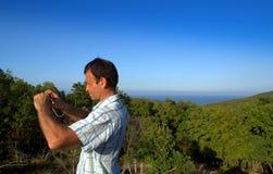 Traveler enjoying the Ropotamo reserve view Stock Photography