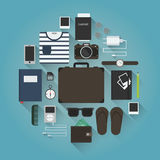 Traveler equipment set. Summer travel flat vector illustration. Set of travel equipment: suitcase / trunk, glasses, watches, passport, phone, player, headphones Stock Images