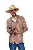 Traveler and explorer with binoculars and hat isolated over whit Stock Images