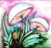 Traveler in fairy forest, fluorescent mushrooms royalty free illustration