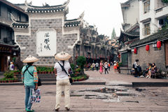 Traveler in Fenghuang ancient city. Stock Image