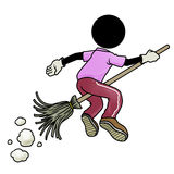 Traveler flying with broom. Silhouette-man traveler flying with broom Royalty Free Stock Photos