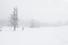 Traveler in the fog in the winter mountains. Joyfully pulls hands to the sky - the goal Royalty Free Stock Photo