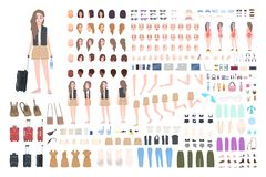 Traveler girl constructor or DIY kit. Bundle of female tourist body parts, postures, clothing, touristic equipment. Isolated on white background. Colorful stock illustration