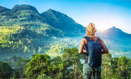 Traveler girl in Sri Lanka Royalty Free Stock Photos