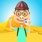 Traveler in glasses standing near pyramids. Illustration of cartoon character of young smiling traveler in glasses standing near pyramids in egypt holding camera Royalty Free Stock Photos