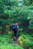 Traveler go with big backpack along the trail Royalty Free Stock Photo