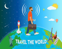 Traveler goes around the globe, vector illustration Royalty Free Stock Image