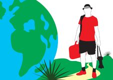 Traveler. A guy in a hat with vector illustration