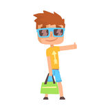 Traveler guy standing with a sign hitchhiking, travelling. Traveler guy standing with a sign hitchhiking, travelling by autostop cartoon vector Illustration on Royalty Free Stock Photo