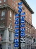 Traveler Highway Destination Sign Stock Image