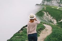 Traveler or hiker in the mountains in the National Park Triglav. stock image