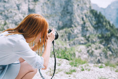 Traveler or hiker in the mountains in the National Park Triglav. Stock Photos