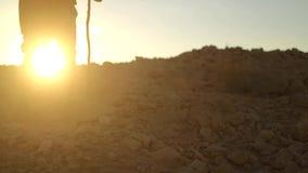 Traveler with Hiking Backpack in the Desert stock video