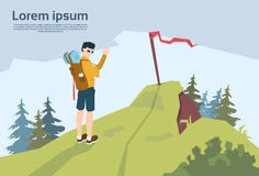 Traveler On Hill Hiker With Rucksack Mountain Background. Vector Illustration Royalty Free Stock Photos