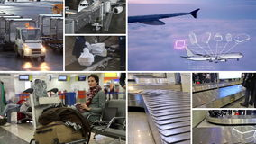 Traveler and his luggage. Multi-screen stories related to passenger air transport