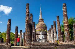 Traveler in Historical Park of Thailand Royalty Free Stock Images