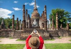 Traveler in Historical Park of Thailand Stock Photo