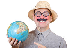 Traveler holding globe Stock Photography